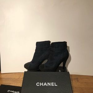 CHANEL Blue & Black Toe Suede Booties